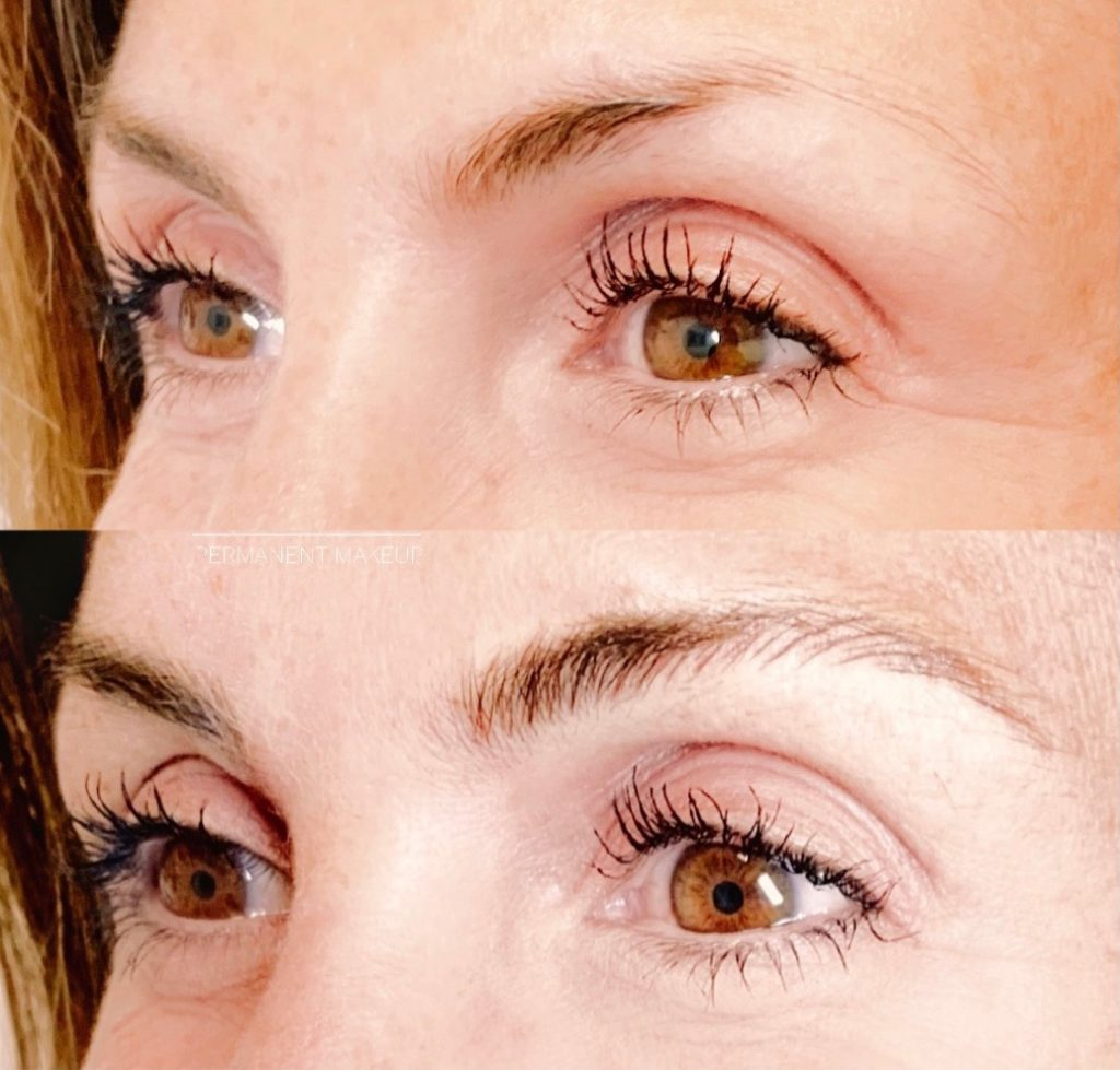 Eyebrow filling before and after at face permanent makeup